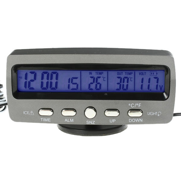 Digital LCD Car Thermometer with Voltmeter and Ice Alert