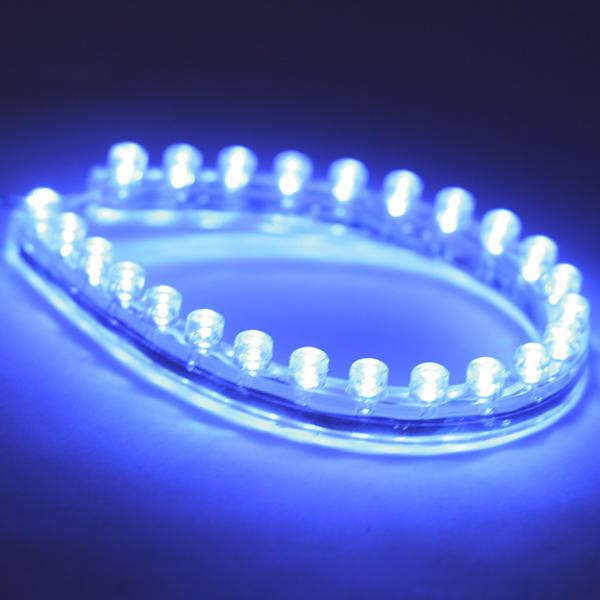 strip led bande flexible ruban 24cm 12v dc voiture bleu tuning. Black Bedroom Furniture Sets. Home Design Ideas