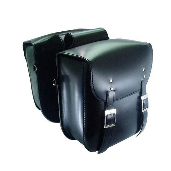 Motorcycle Saddlebags Hard Waterproof in Faux Leather with Straps