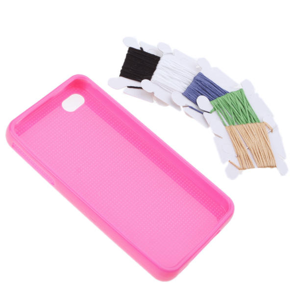 Funda Iphone 4 Perforada DIY para Personalizar Punto de Cruz - fucsia