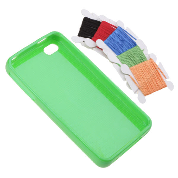 Funda Iphone 4 Perforada DIY para Personalizar Punto de Cruz - verde