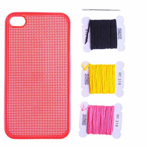 Funda Iphone 4 Perforada punto de cruz para personalizar - rojo