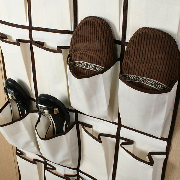 Organizador de zapatos colgante con 26 bolsillos en lienzo for Como hacer una zapatera de madera paso a paso