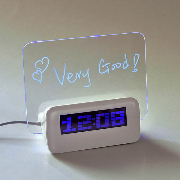 horloge r veil de table avec panneau lumineux usb pour crire messages. Black Bedroom Furniture Sets. Home Design Ideas
