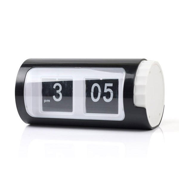 Auto Flip Clock Cylindrical Retro Black White Desktop