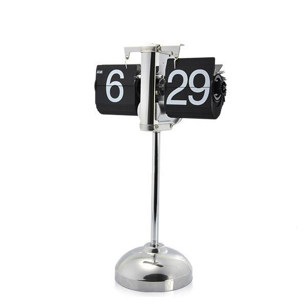 Retro Flip Desk Clock Metallic with Extensible Base Classic Vintage