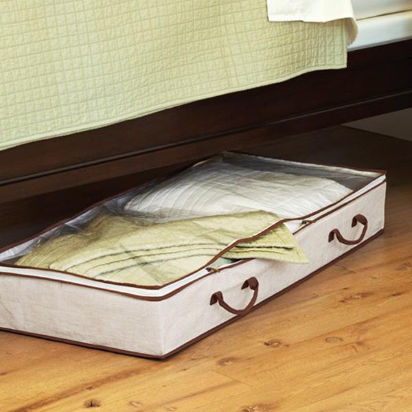 Bo te de rangement organisateur sous le lit en tissu stockage for Rangement sous de lit