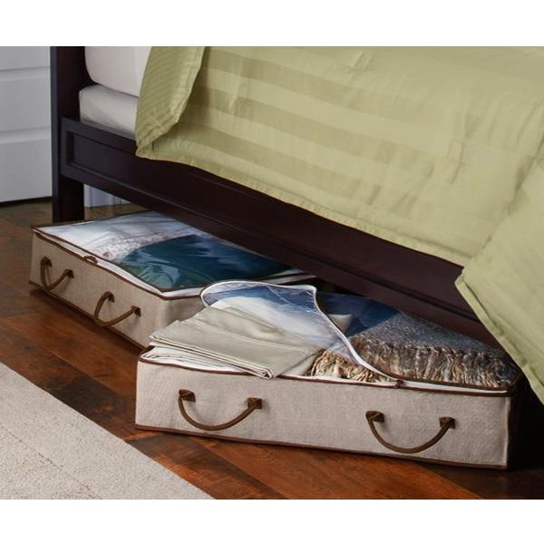 Bo te de rangement organisateur sous le lit en tissu stockage for Boites rangement sous lit
