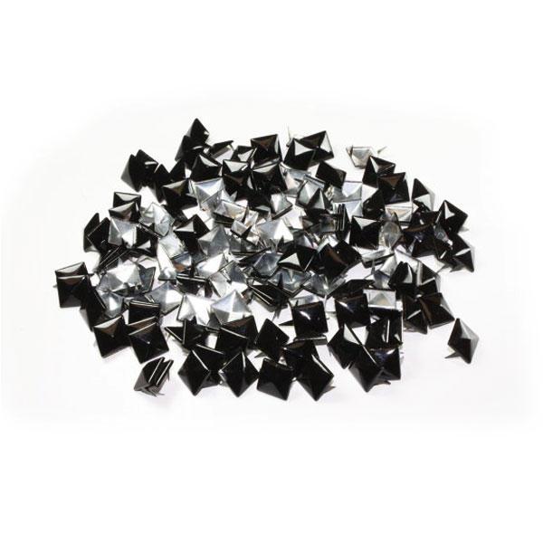 100 Tachas para ropa Tachuelas decorativas Piramide Apliques Negros de 8mm