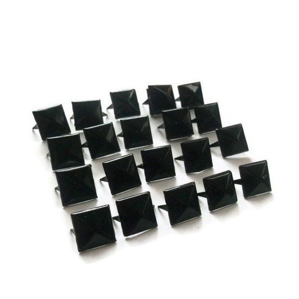 100 Tachuelas decorativas apliques para ropa piramide 7mm negro