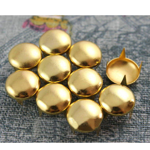 200x Gold Round Studs for Shoes 9 10 12mm Rivets DIY Clothes Jackets