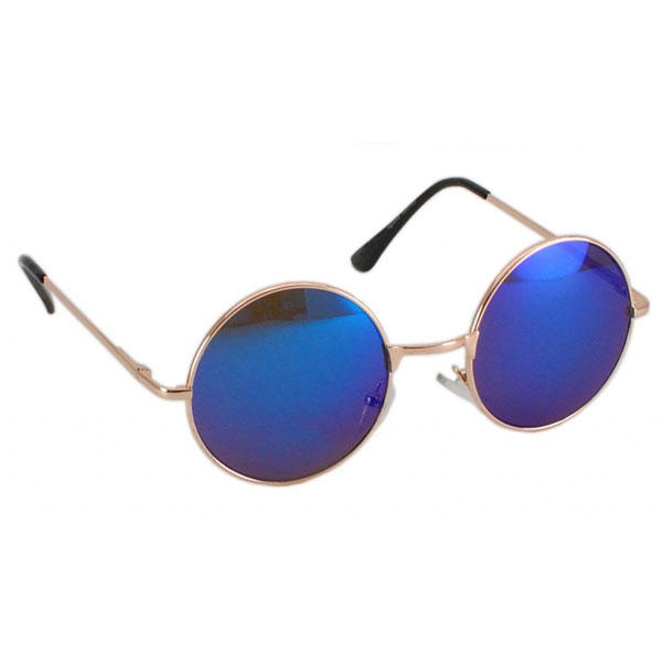 Round Vintage Sunglasses Retro Style Mirror Lens and Metallic Frame