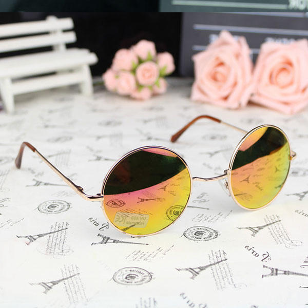 Round Sunglasses Vintage Retro Metallic Frame Mirrored Lens UV400