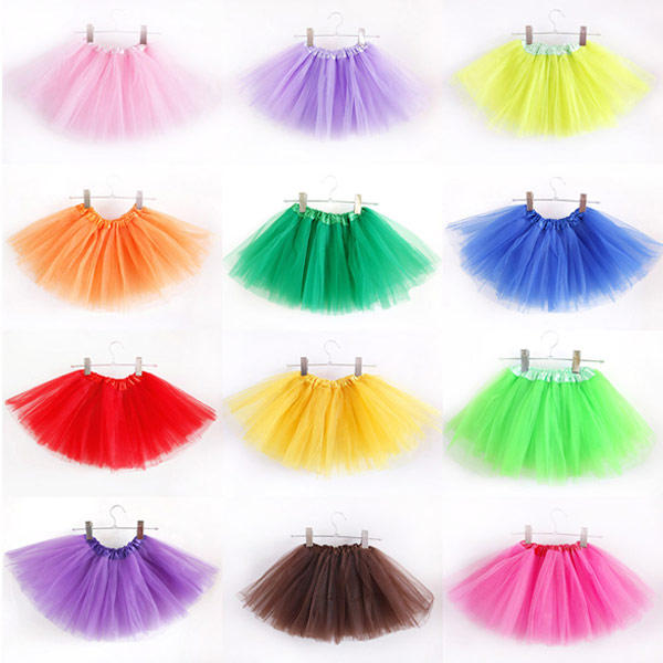 Tutu Skirt for Kids Girls in Tulle Mesh Layered Ballerina - 12 Colors