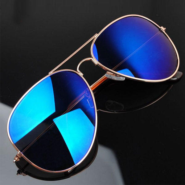 Aviator Sunglasses Mirror Lens Retro Men Women Metallic Eyewear