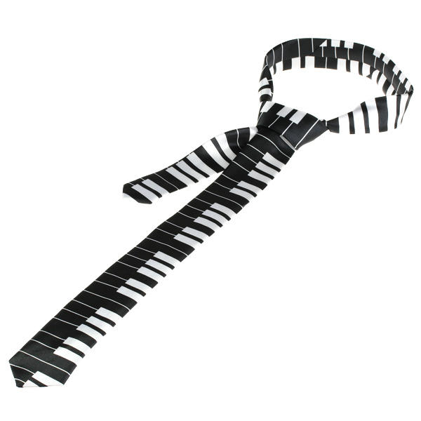 Piano Tie Retro Style Keyboard Necktie Black with White Keys