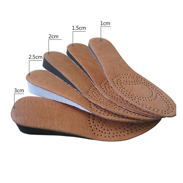Leather Insoles for Men Height Increase 1cm - 3cm Foam Shoe Heel Lifts