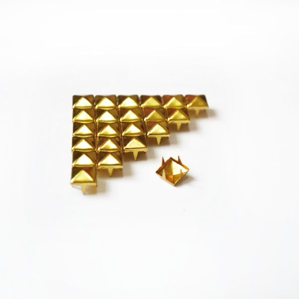 200x Golden Pyramid Studs for DIY Bags Shoes Clothing 4 - 8mm
