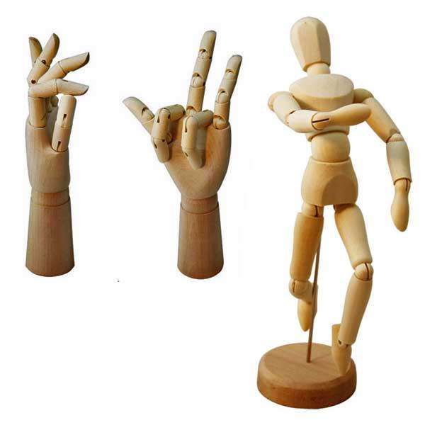 Set con Muñeco Articulado Madera y 2 Manos Mujer y Hombre para Dibujo