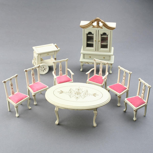 House Dining Room Set 1:12 scale with table chairs and cabinet