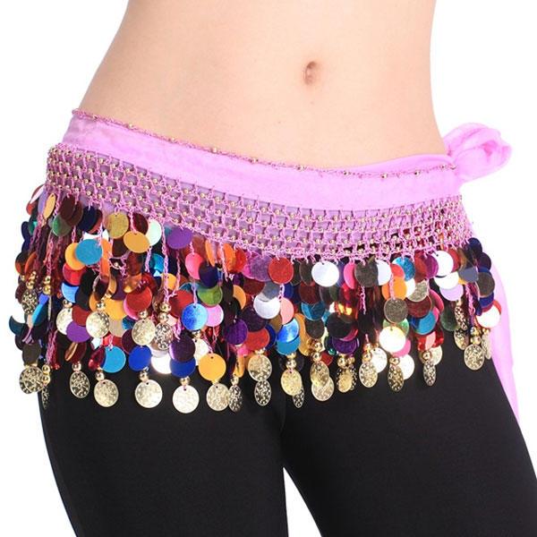 Pañuelo Danza del vientre Cinturon Belly Dance Dorado Monedas Colores