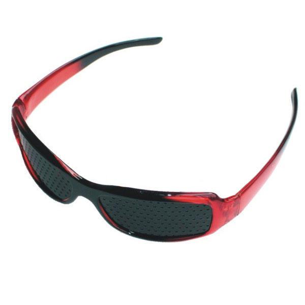 Gafas Estenopeicas Deportivas Lentes Reticulares Pinhole Negro y Rojo