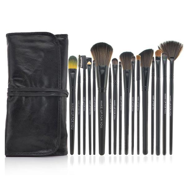 18 Pinceaux Maquillage Pochette Kit Professionnel imitation cuir