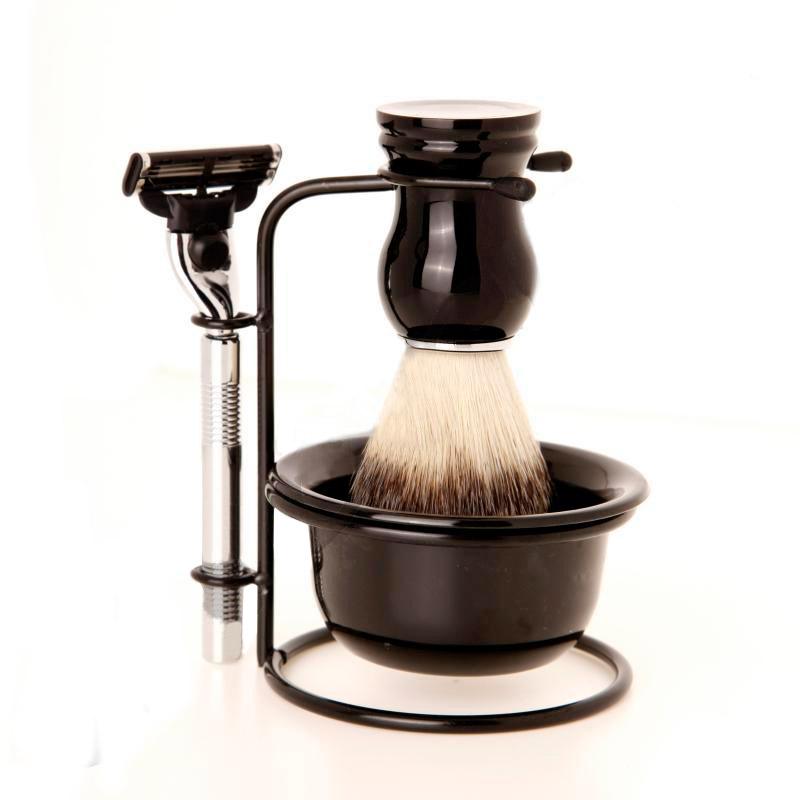 Classic shaving kit traditional razor badger brush stand dish for Stand traditionnel