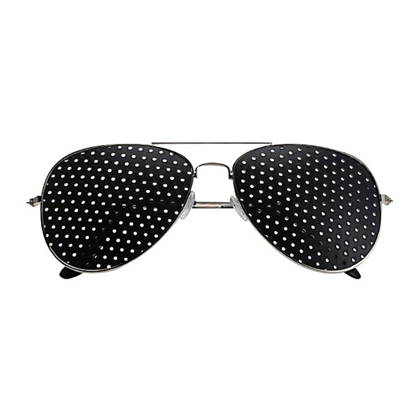 Metallic Pinhole Glasses for Eye Training Perforated Black Eyeglasses