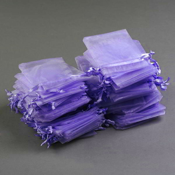 100x Lavender Organza Bags for Gifts Wedding Favours Jewellery