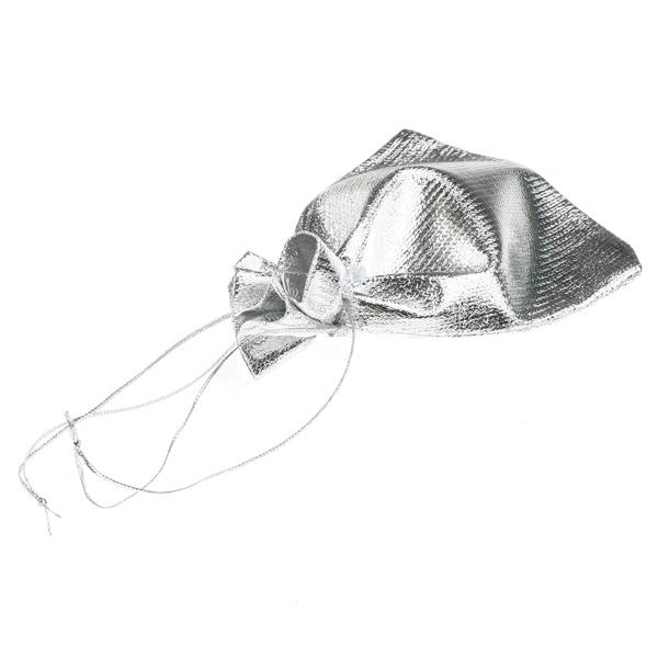 100x Gift Bags in Silver Metallic Fabric for Party Wedding Favours