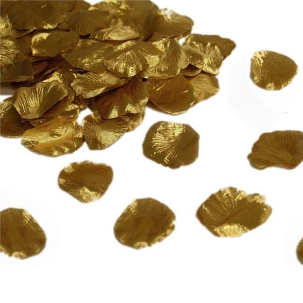 1000 Golden Rose Petals for Wedding Decor Events Confetti Faux Silk