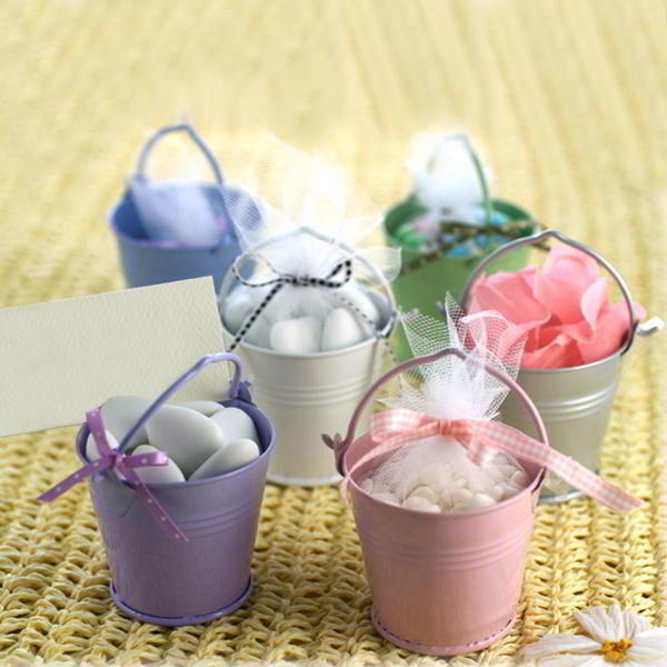 6x Mini Bon Bon Dragee Buckets for Wedding Favours in Pastel Colours