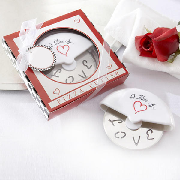Pizza Cutter Slicer Gift Box for Wedding Favours in Stainless Steel