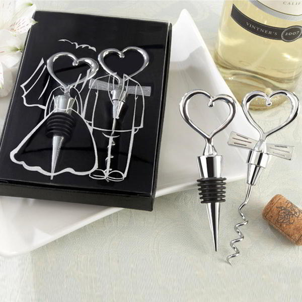 Wine Stopper and Corkscrew Set Bride and Groom for Wedding Favours