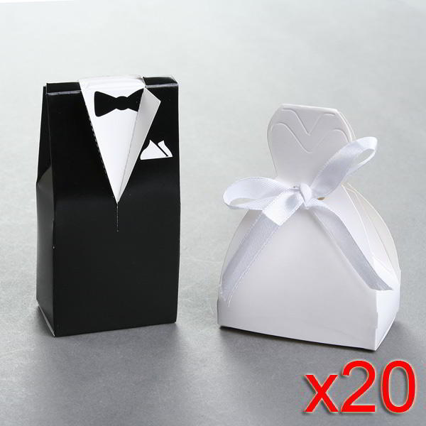 40x Bride and Groom Gift Box Set - Wedding Dress with Bow and Tuxedo