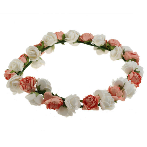Silky Wreath for Wedding Decoration Party - Salmon White