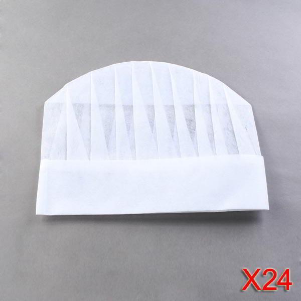 a5ceb132fd3f6 ... 24 Chapéus de Chefe Cozinheiro Descartáveis 25cm Papel Branco Chef ...