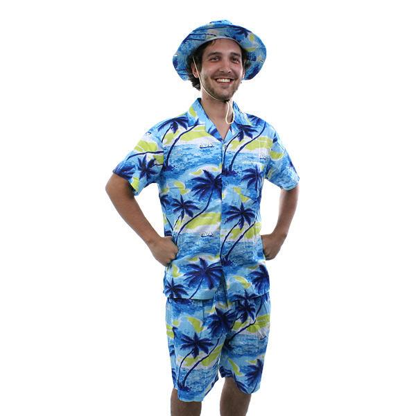 Disfraz Hawaiano con camisa pantalon y sombrero para fiestas carnaval