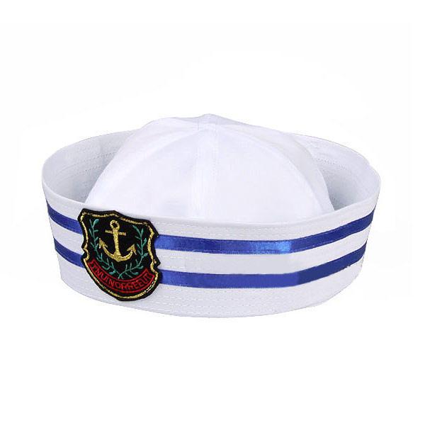 Sombrero de Marinero Marino Barco Disfraz Algodon Blanco Azul 5644bb11773