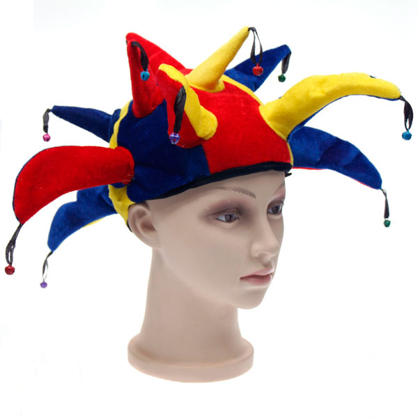 416e7cba165 Jester Hat with 13 Tips Jingle Bells Clown Buffoon Fancy Dress