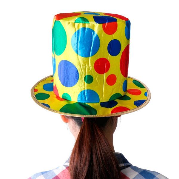 Sombrero de Copa Puntos Circo Payaso Tela Disfraz Halloween e18c3db71fb