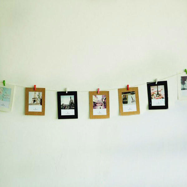 3x paper photo frame kit with wooden clips for diy for Picture frame with clips diy