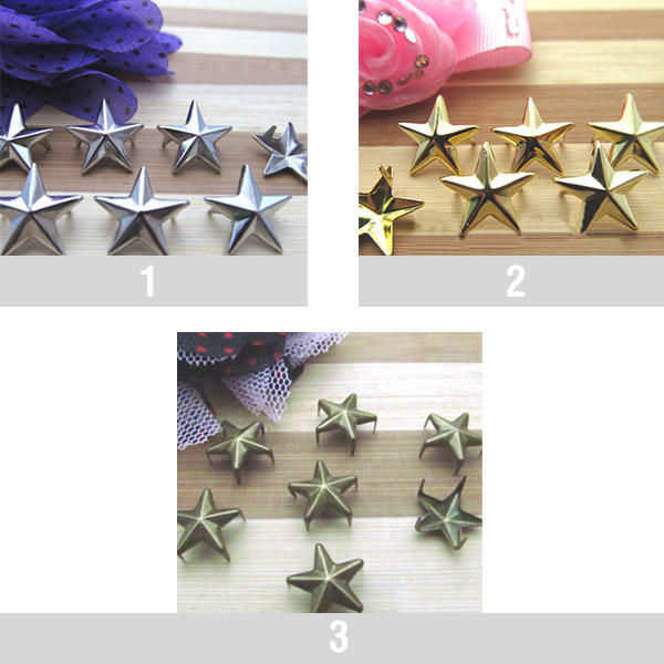 200 Star Studs for DIY Clothes Shoes Handbags 10mm-25mm Punk Rivets
