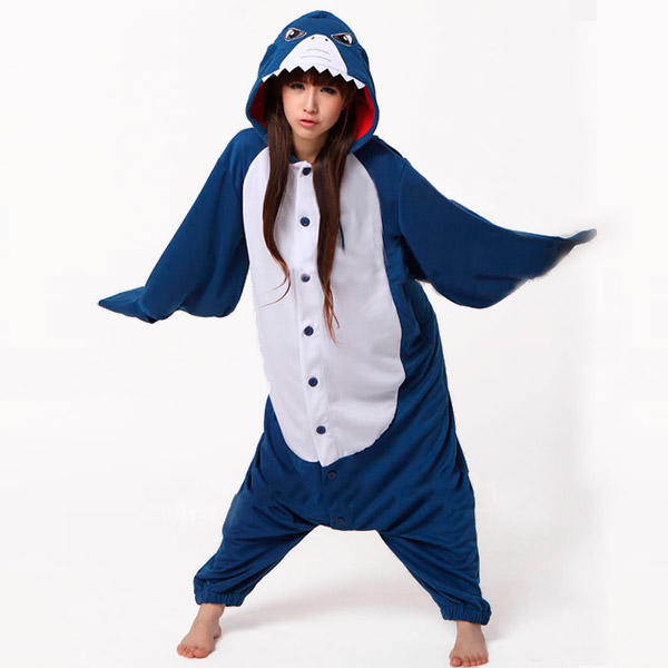 Blue shark kigurumi fish costume onesie pajama stag party for Fish costume for adults