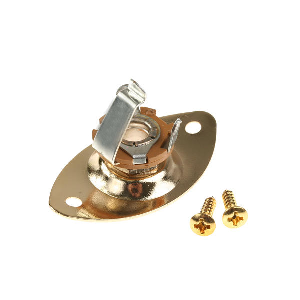 Electric Guitar Jack Plate 46 x 24mm Output with Screws - Brass