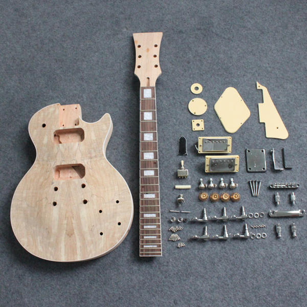 DIY Electric Guitar Kit Mahogany Wood Maple Veneer Top Luthier